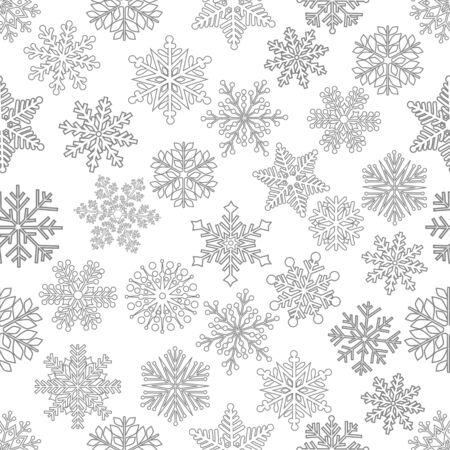 Patrón sin fisuras de Navidad con lindo copo de nieve sobre fondo blanco