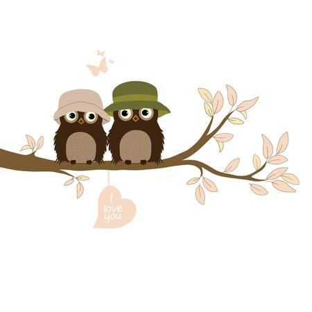 Happy Valentine's day! Greeting card with cute owls Vetores