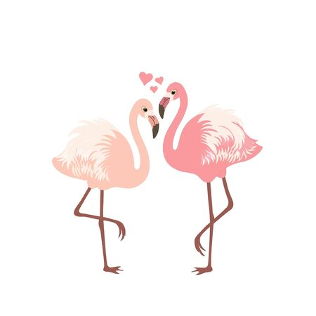 Happy Valentine's Day! Greeting card with cute flamingos