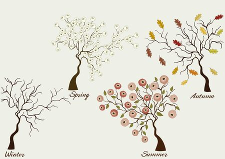 Trees in four seasons - winter, spring, summer, autumn, on gray background Illustration