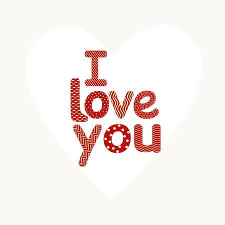Card with  I love you phrase. Ilustração