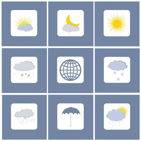 Weather icon set in square. Sketch for your design. Vecteurs