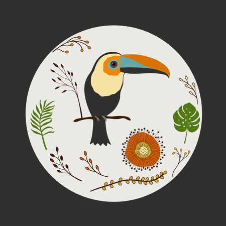 llustration with cute cartoon toucan on a branch