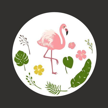Decorative pattern with flamingo and tropical leaves
