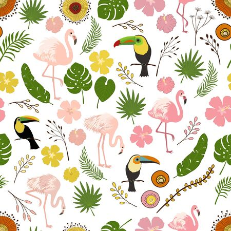 Seamless decorative pattern with flamingo, toucan and tropical leaves and flowers