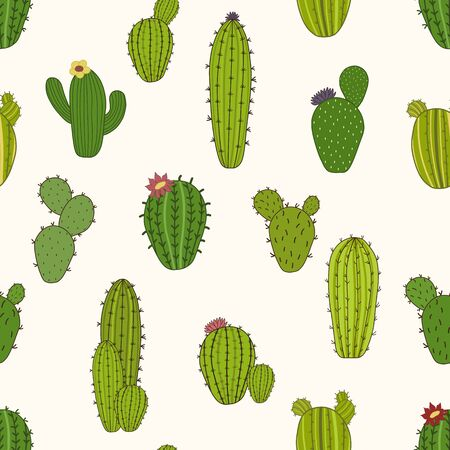 Cute seamless pattern with cactus