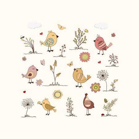Pattern of colorful birds in Childish hand-drawn illustration in cartoon style