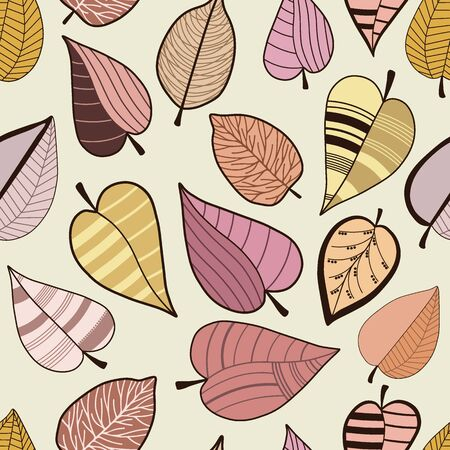 Seamless pattern with abstract stylized colorful leaves on beige background