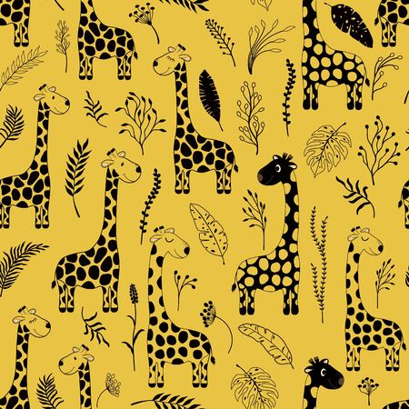 Seamless pattern with cute cartoon giraffes and plantes Illustration