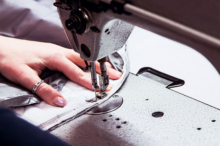 zigzagger: sewing machine with the processing in progress close-up