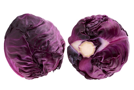 Isolated vegetables. Two red cabbage isolated on white background with clipping path