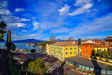 Beautiful view of the port in Peschiera del Garda, Lombardy, Italy. Stok Fotoğraf
