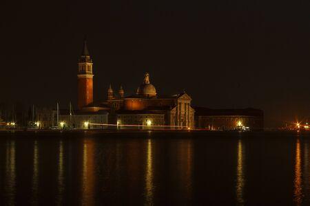 venice: Church of San Giorgio Maggiore by night, Venice, Italy. Stock Photo