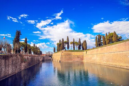 The Fortress and the external fortifications of Peschiera del Garda on Lake Garda, Veneto, Italy.