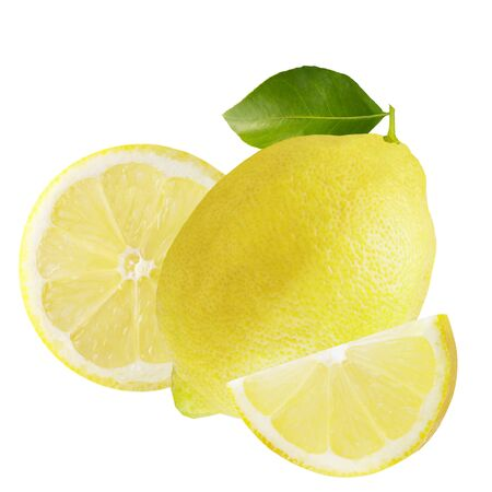 Isolated lemon. One whole lemon with slices isolated on white background with clipping path for package design.