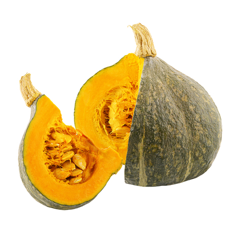 Cut pumpkin isolated on white background with clipping path for package design.