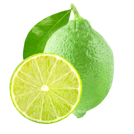 Isolated limes. One lime and slice with leaf isolated on white background with clipping path as package design element.