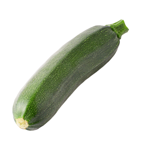 Isolated zucchini. One whole zucchini isolated on white background with clipping path Archivio Fotografico