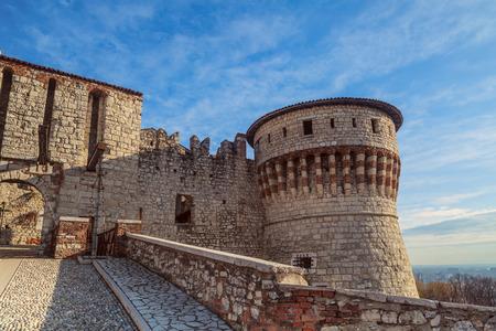 Castle inner entrance in Brescia, Italy.