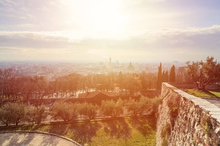 Panoramic view of the city of Brescia from the castle on a sunny day. Archivio Fotografico