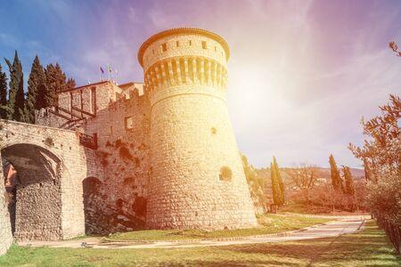 Castle on the hill Cidneo in city of  Brescia, Italy.