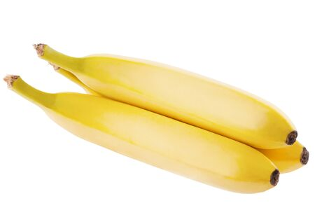 Isolated banana. Three whole fresh bananas isolated on white background with clipping path