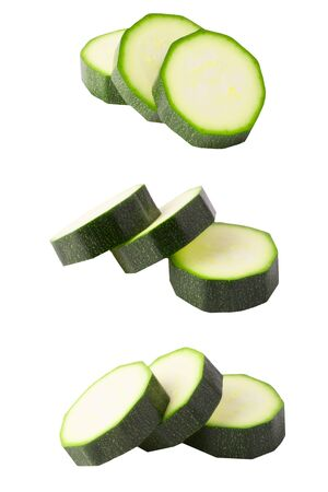 Isolated zucchini. Collection of isolated courgettes on white background with clipping path for package design.
