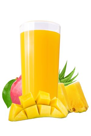 Isolated drink. Fresh mango and pineapple juices on white background as a packaging element
