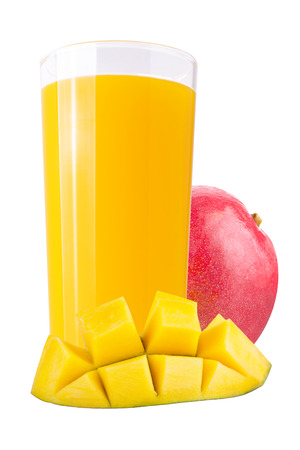 Isolated drink. Fresh mango juices over white background as a packaging element Archivio Fotografico