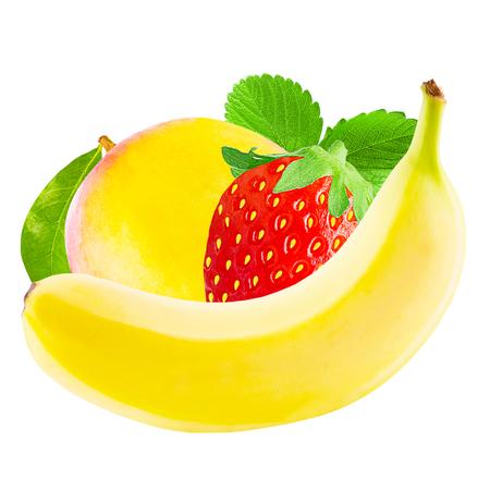 Isolated fruits. Banana, mango and strawberry isolated on white background