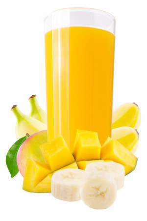 Isolated drink. Fresh banana and mango juices over white background as a packaging element.