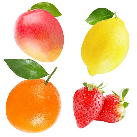 Isolated variety of fruits. Collection of lemon, strawberries, orange and mango isolated on white background