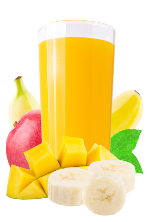Isolated drink. Fresh mango and banana juices on white background as a packaging element