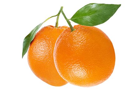 Isolated fruits. Orange fruit with leaf isolated on white background with clipping path as package design element.