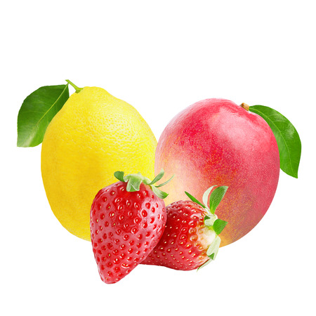 Isolated variety of fruits.  Lemon, strawberries and mango isolated on white background with clipping path