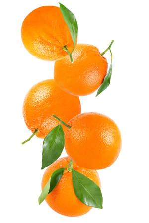 Isolated fruits. Orange fruit with leaf isolated on white background  as package design element.