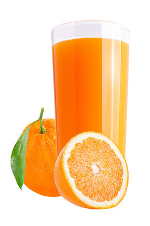 Isolated drink. Fresh orange juices with fresh fruit on white background as a packaging element