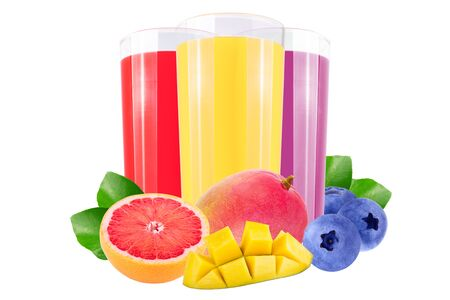Isolated juice. Three glasses with straberry, blueberry and lemon juice and cut fruits isolated on white background