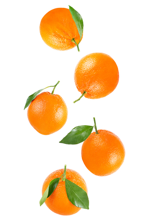 Isolated oranges. Falling whole orange with leaf isolated on white background with clipping path as packaging design element.