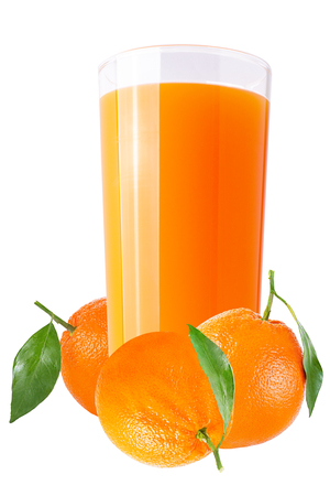 Isolated drink. Fresh orange juices on white background as a packaging element Archivio Fotografico