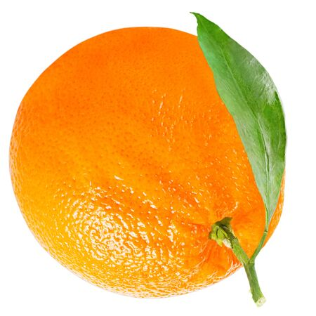 Isolated oranges. One orange with leaf isolated on white background with clipping path as packaging design element. Archivio Fotografico