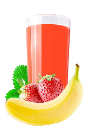 Isolated juice. Strawberry and banana drink isolated on white background with clipping path