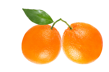 Isolated oranges on white background with clipping path as packaging design element. Archivio Fotografico