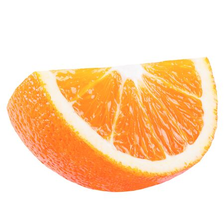 Isolated slice of orange on white background with clipping path as packaging design element. Archivio Fotografico
