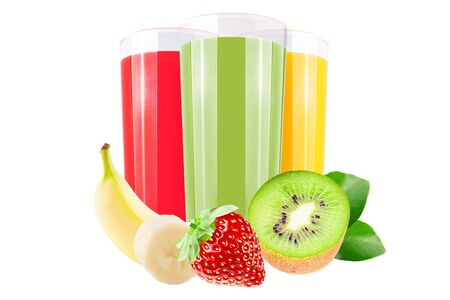 Isolated juice. Three glasses with straberry,banana and kiwi juice and cut fruits isolated on white background with clipping path as packaging design element.