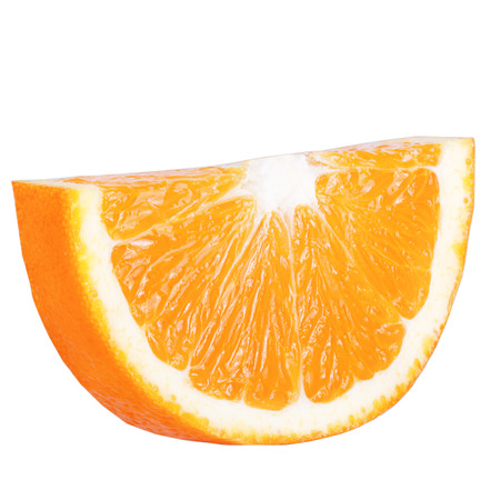 Isolated citrius. Isolated slice orange on white background with  clipping path as packaging design element. Archivio Fotografico