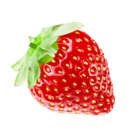 Isolated strawberry on white background with clipping path as packaging design element.