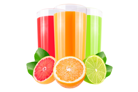 Isolated juice. Three glasses with grapefruit, orange and lime juice and cut fruits isolated on white background Archivio Fotografico