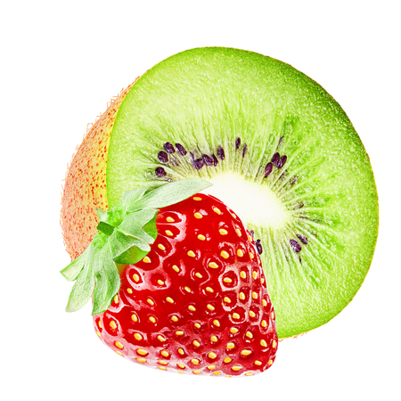 Isolated fruits. Cut kiwi and strawberry fruits isolated on white background with clipping path as packaging design element.