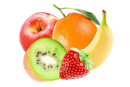 Isolated various fruits. Whole fresh fruits ( banana, orange, apple, kiwi and strawberry)  isolated on white background with clipping path